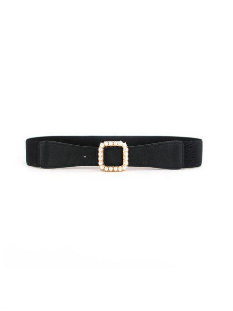 Hebilla cuadrada perlas de imitación elástico de la correa - Negro  Mobile