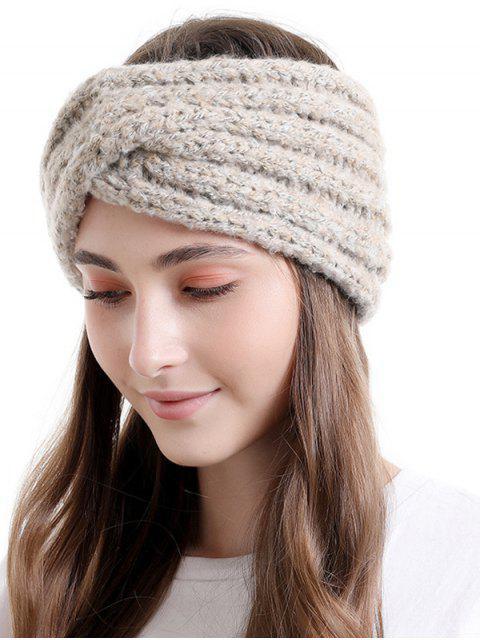 new Cross Knitted Wide Elastic Headband - WARM WHITE  Mobile