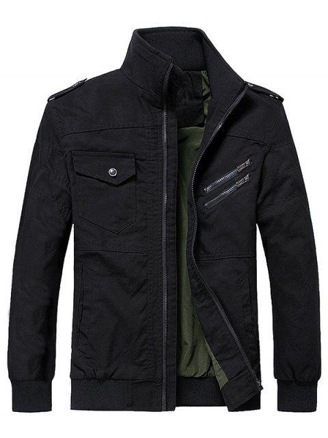 womens Solid Color Pocket Decoration Zip Up Jacket - BLACK S Mobile