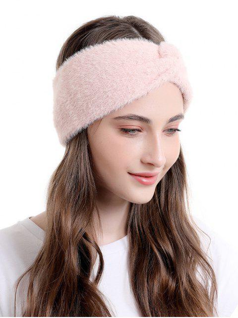 womens Faux Fur Wide Elastic Headband - LIGHT PINK  Mobile