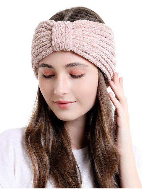 women Knitted Bowknot Wide Headband - LIGHT PINK  Mobile