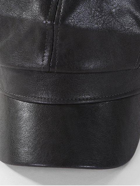 Газетчик Кожа Одноцветная Восьмиугольная Шляпа Козырёк - Чёрный  Mobile