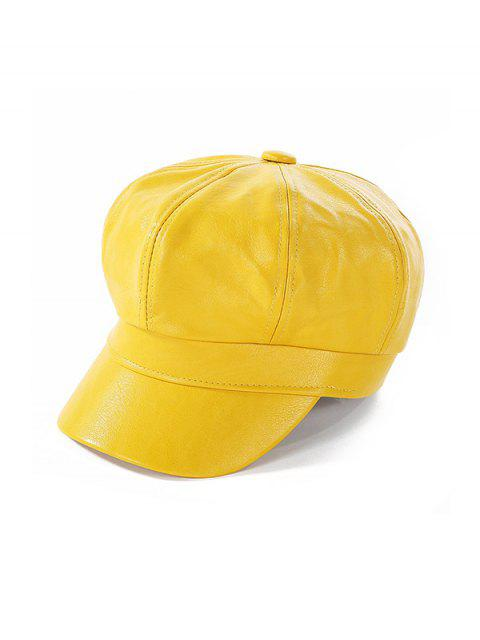 ladies Newsboy Solid Leather Octagonal Peaked Hat - YELLOW  Mobile