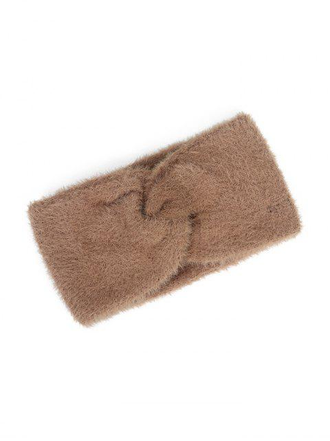 outfit Faux Fur Wide Elastic Headband - CAMEL BROWN  Mobile