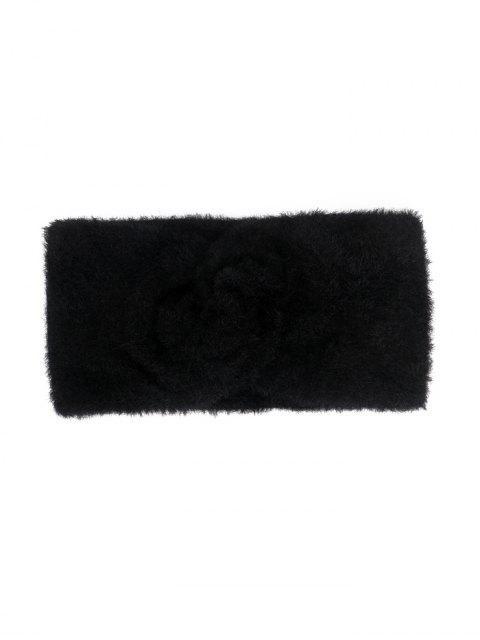 Bandeau Large Elastique en Fausse Fourrure - Noir  Mobile