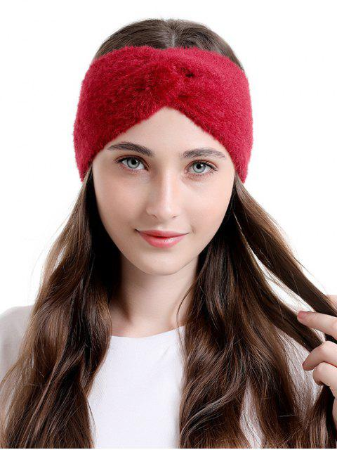 shops Faux Fur Wide Elastic Headband - RED WINE  Mobile