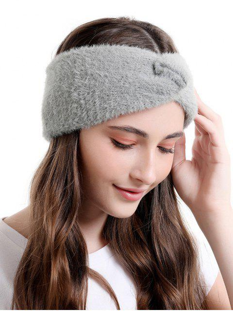 latest Faux Fur Wide Elastic Headband - DARK GRAY  Mobile