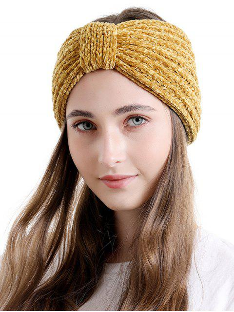 trendy Knitted Bowknot Wide Headband - SAFFRON  Mobile