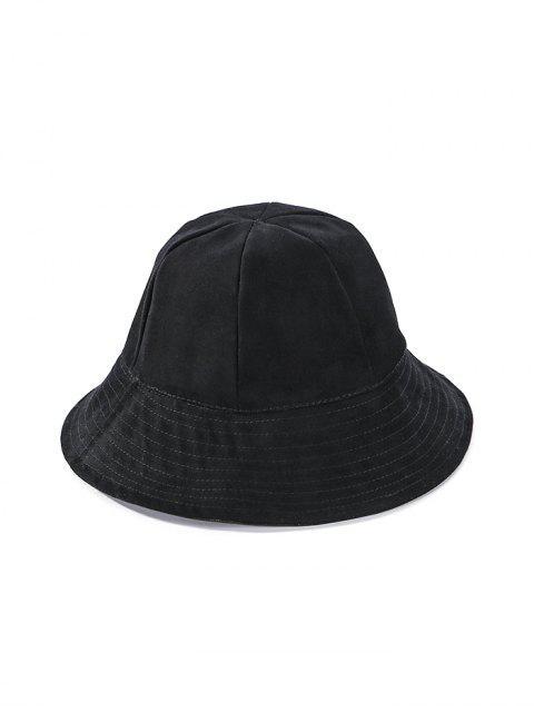 С обвисшими полями Двухсторонная Одноцветная Шляпа - Чёрный  Mobile