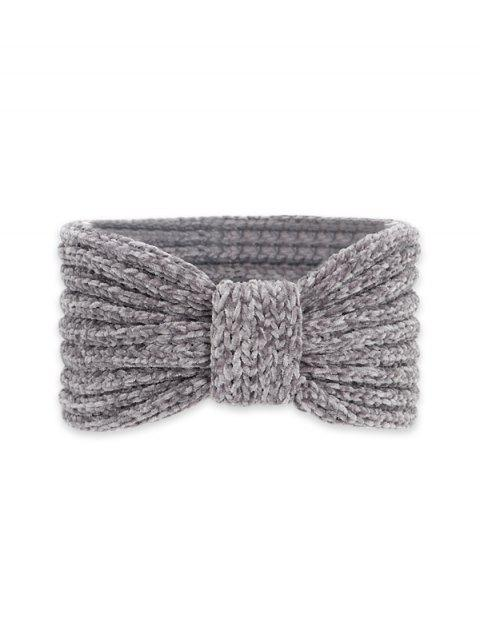 chic Knitted Bowknot Wide Headband - DARK GRAY  Mobile