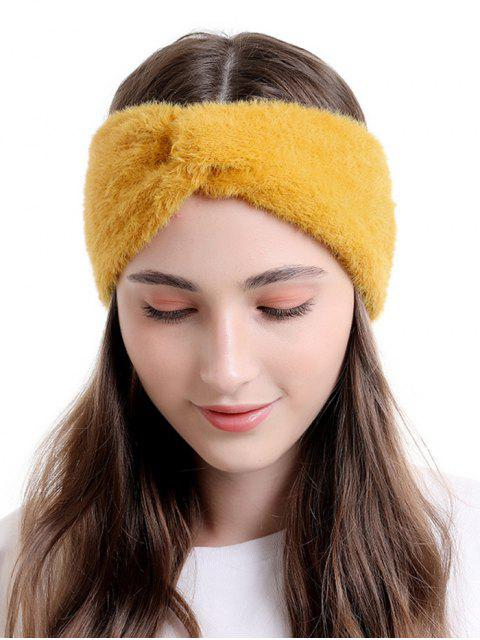sale Faux Fur Wide Elastic Headband - SAFFRON  Mobile