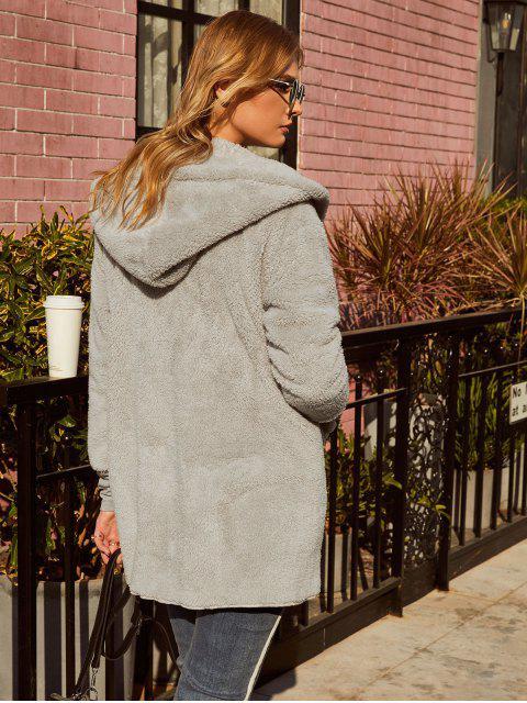 ZAFUL Manteau à Capuche Tunique Fourré Ouvert avec Poche - Gris L Mobile