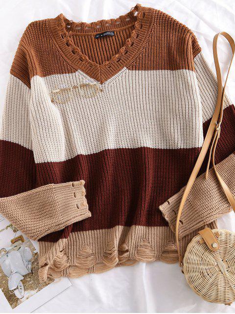 women's ZAFUL Color Block Distressed Oversized Sweater - MULTI L Mobile