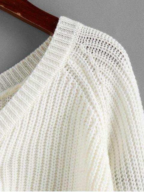 womens ZAFUL V Neck Shirred Ribbed High Low Sweater - MILK WHITE M Mobile