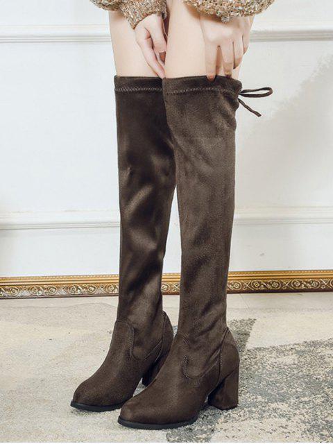 sale Plain Mid Heel Suede Tight High Boots - DARK KHAKI EU 35 Mobile