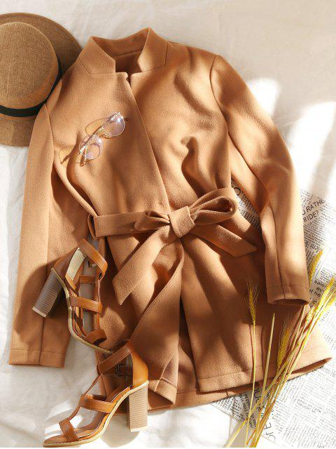 fancy ZAFUL Stand-up Collar Belted Tunic Coat - LIGHT BROWN M Mobile
