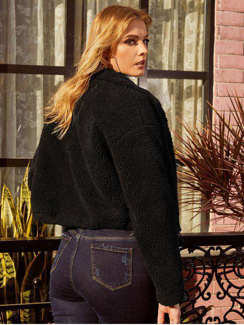 buy ZAFUL Drop Shoulder Snap Button Teddy Coat - BLACK XL Mobile