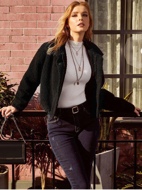women ZAFUL Drop Shoulder Snap Button Teddy Coat - BLACK L Mobile