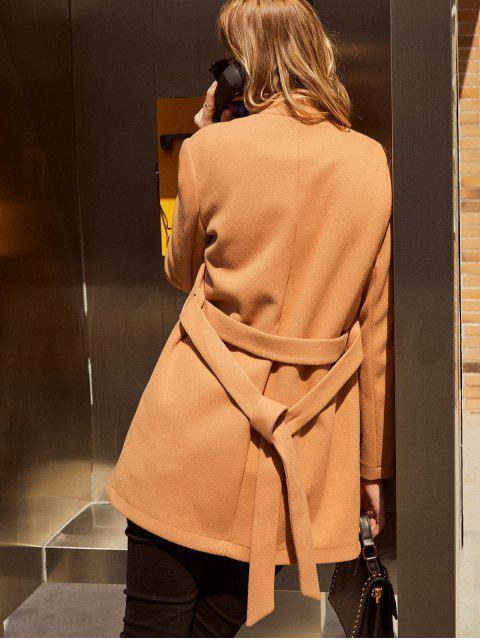ZAFUL Manteau Tunique Ceinturé à Col Debout - Brun Légère XL Mobile