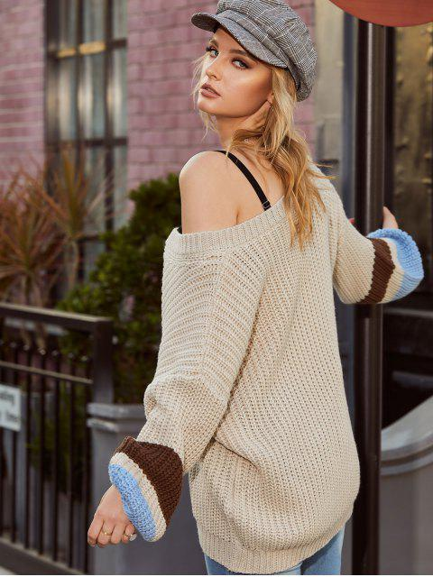 outfits ZAFUL Colorblock V Neck Chunky Sweater - WARM WHITE M Mobile