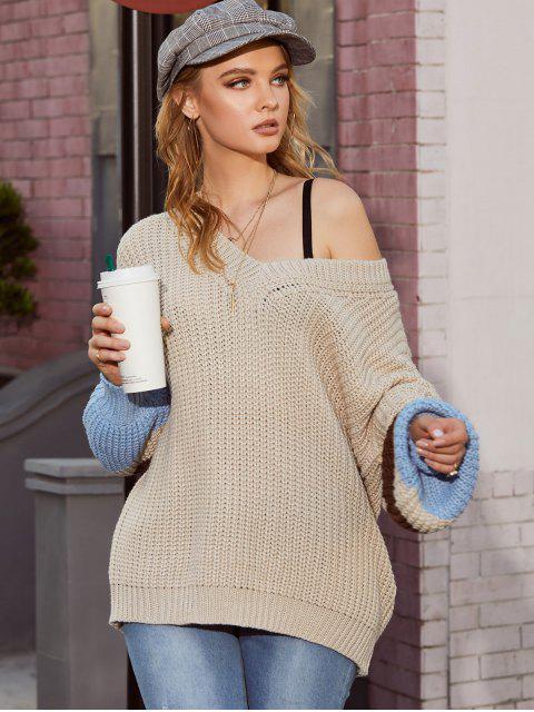ZAFUL Colorblock Vネックセーターチャンキー - 暖かい白 M Mobile