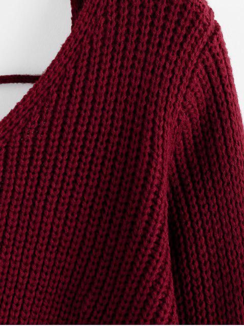 shops ZAFUL Twisted Open Back Ladder Cut Sweater - RED WINE L Mobile