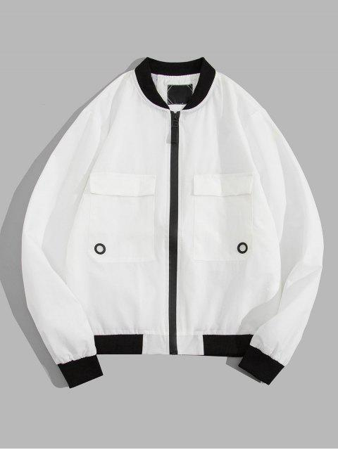 new Contrast Trim Flap Pocket Zip Up Jacket - WHITE S Mobile