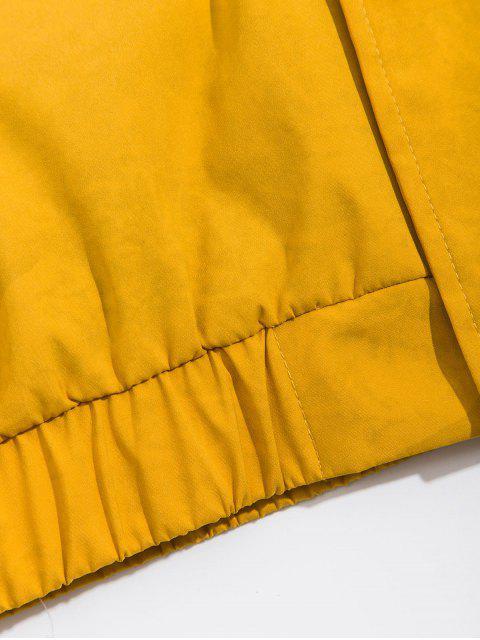 Bolsillo de la decoración patrón de la letra de la chaqueta con capucha - Amarillo M Mobile