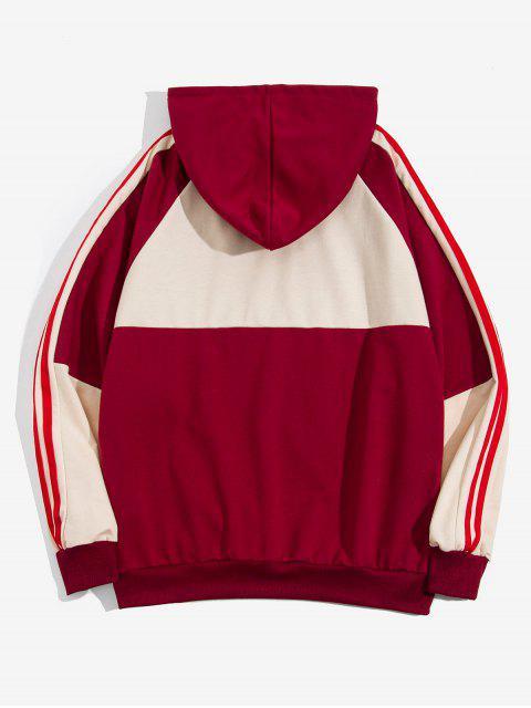 women Color Blocking Spliced Letter Print Striped Raglan Sleeve Hoodie - RED WINE L Mobile