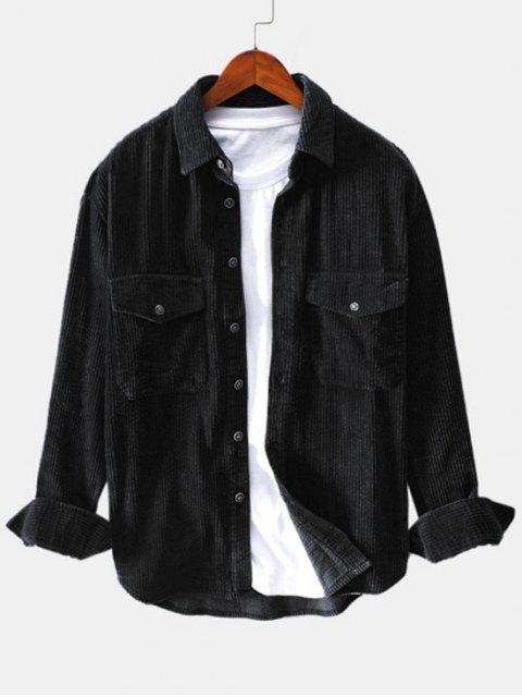 trendy Solid Color Pocket Decoration Button Shirt - BLACK L Mobile