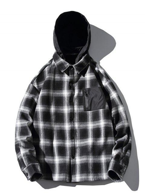 lady Contrast Checkered Print Fleece Asymmetric Hood Shirt - BLACK XL Mobile