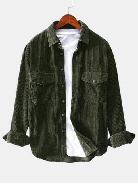 Sólido Botón decoración del bolsillo de la camisa del color - Ejercito Verde 2XL Mobile