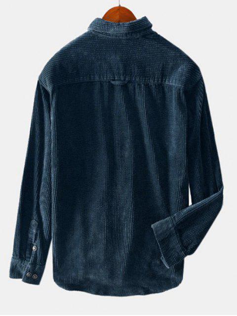 Camisa de Botón de Color Sólido de Decoración con Bolsillo - Azul Mármol 3XL Mobile