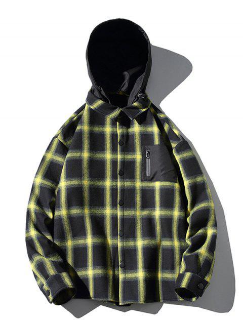 Contraste cuadros Imprimir Fleece asimétrica capilla Camisa - Amarillo 4XL Mobile