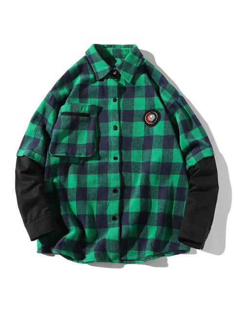 outfits Plaid Faux Twinset Long Sleeve Shirt - GREEN S Mobile