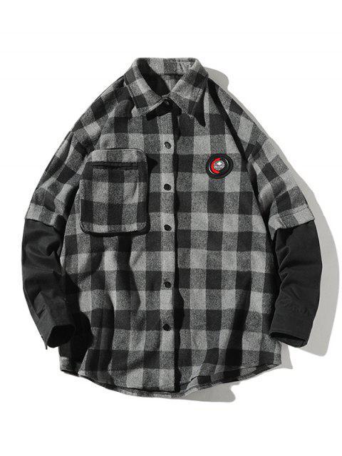 Camisa a cuadros de manga larga Faux Twinset - Gris XL Mobile
