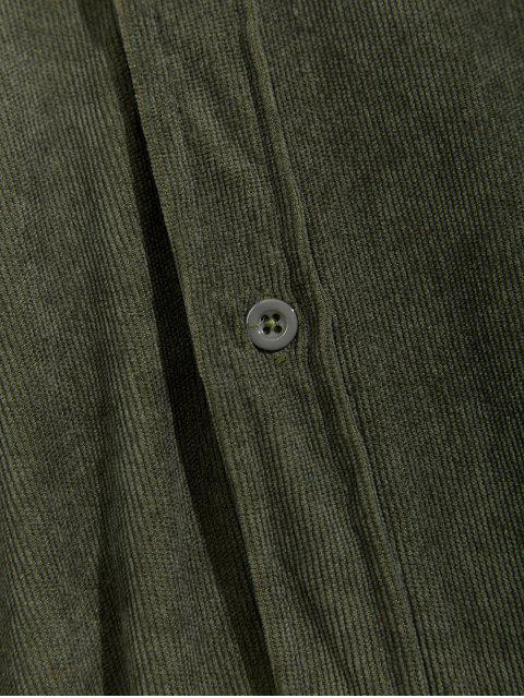 online Solid Chest Pocket Applique Casual Cord Shirt - ARMY GREEN L Mobile