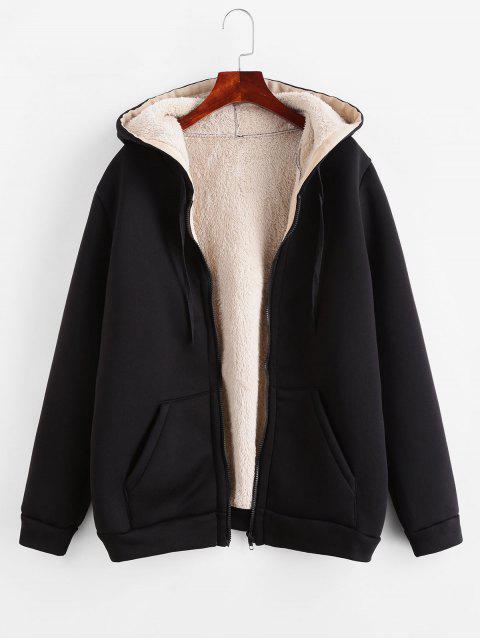 Manteau à Capuche Zippé en Laine à Cordon - Noir XL Mobile