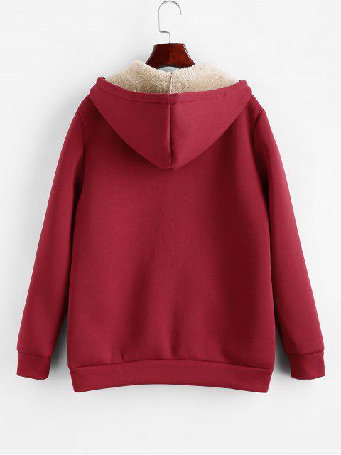 Manteau à Capuche Zippé en Laine à Cordon - Rouge Vineux M Mobile