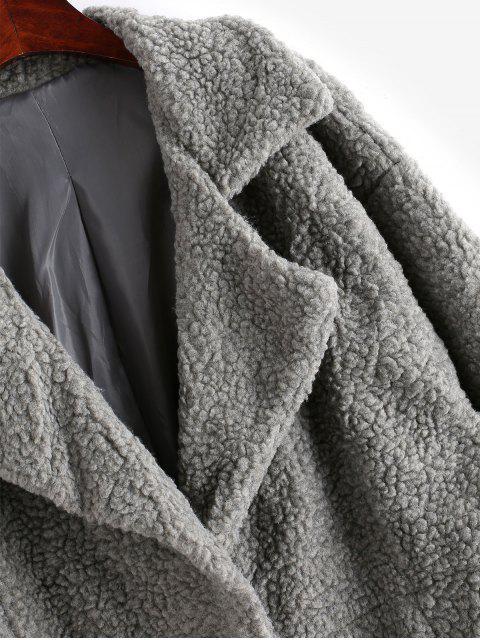 Reißverschluss Manschetten Rücken Schlitz Longline Teddy Mantel - Grau L Mobile
