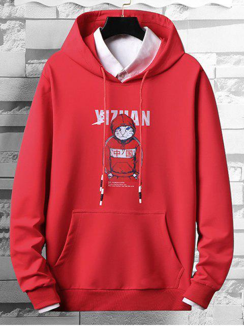 酷貓字母圖形打印抽繩連帽外套 - 紅 M Mobile