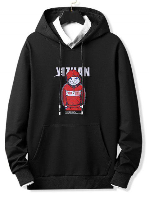 酷貓字母圖形打印抽繩連帽外套 - 黑色 L Mobile