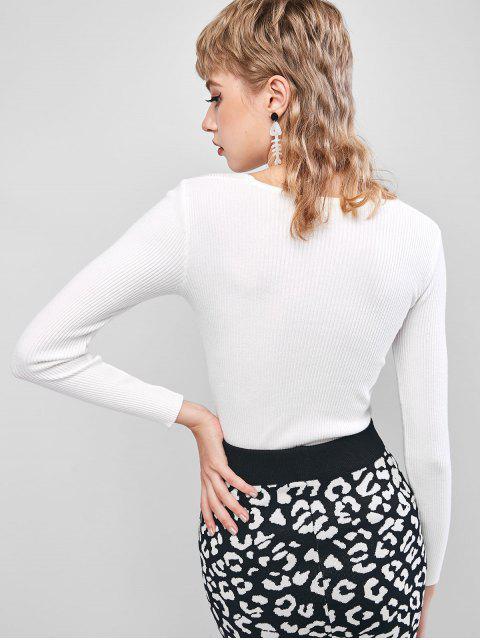 V-Ausschnitt Verdrehte Vorderseite Dünner Strickjacke - Weiß Eine Größe Mobile