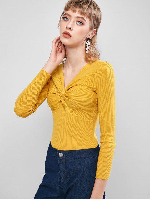 V-Ausschnitt Verdrehte Vorderseite Dünner Strickjacke - Gelb Eine Größe Mobile