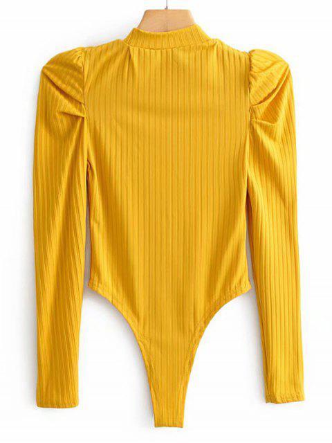 模擬領羅紋泡泡袖連衣褲 - 黃色 L Mobile