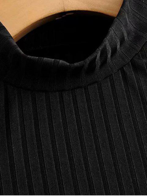 模擬領羅紋泡泡袖連衣褲 - 黑色 L Mobile