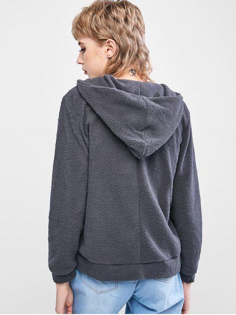 women's Fleece Front Pocket Hooded Jacket - DARK GRAY M Mobile