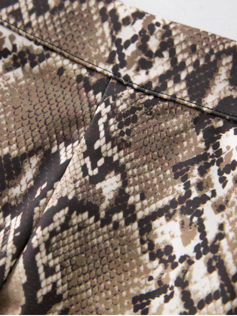 Schlangenhautmuster Reißverschluss Minirock - Tan XL Mobile