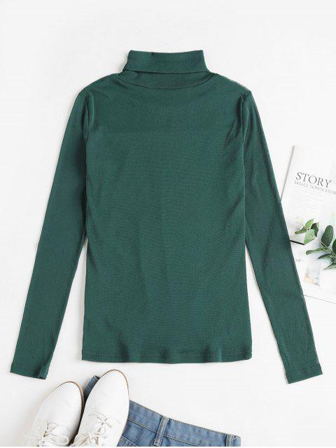 latest Mesh See Thru Turtleneck Slim Tee - GREEN L Mobile