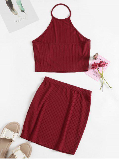ZAFUL作物吊帶衫和護套裙套裝 - 紅 L Mobile